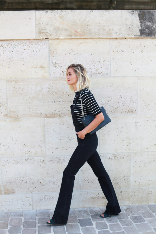black overalls-striped tee-black and navy-slides-black slides-summer weekend outfit-