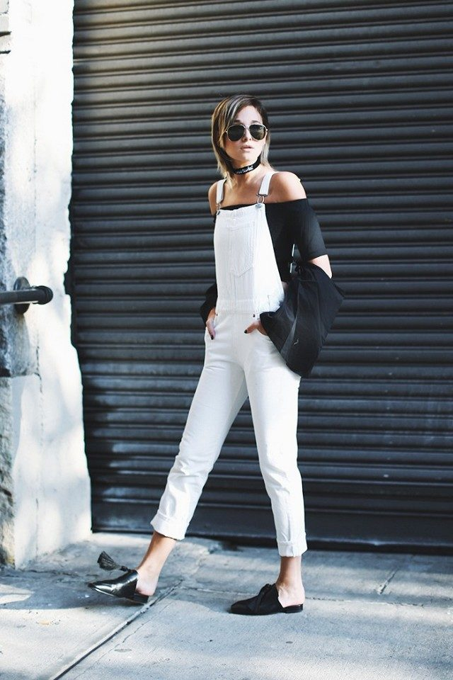 overalls-black and white-off the shoulder-crop top and overalls-mules-slides-flats-flat mules-slide mules-