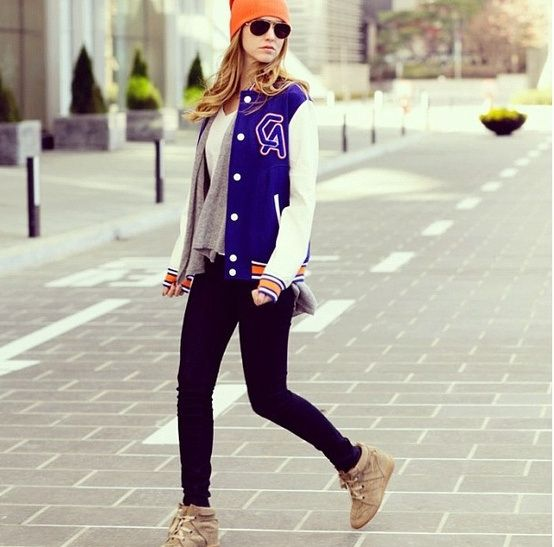 varsity jacket, baseball jacket, fall, wedge high top sneakers, black denim skinnies, black jeans, orange beanie, aviator sunglasses, grey sweater