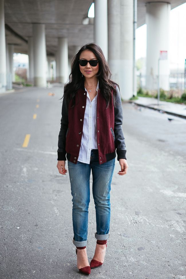 varsity jacket, baseball jacket, fall, preppy, oxford, rolled jeans, distressed, ankle strap heels, burgundy, oxblood, sunglasses