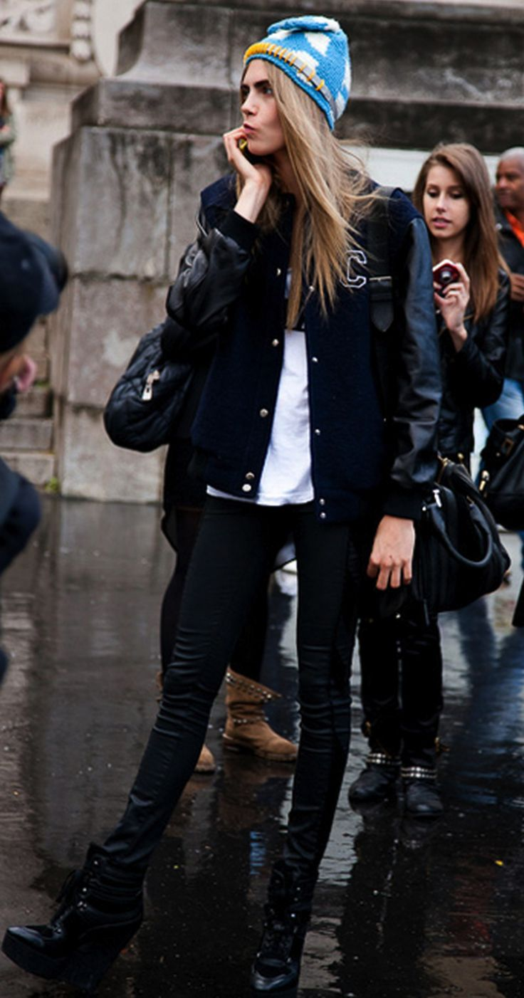 varsity jacket, baseball jacket, fall, cara delevingne, black leather pants, black skinny pants, beanie, model style, bucket bag