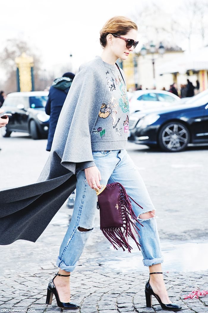 ripped jeans, distressed denim, burgundy fringe bag, sweatshirt, embellished sweatshirt