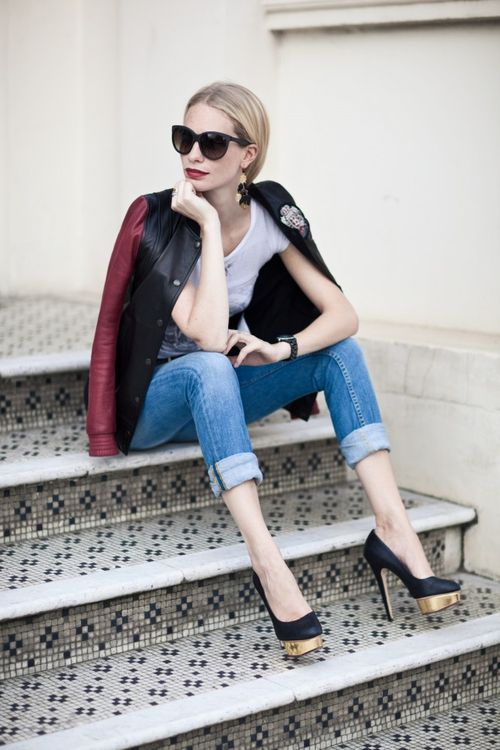 varsity jacket, baseball jacket, fall, poppy delevingne, rolled jeans, black pumps