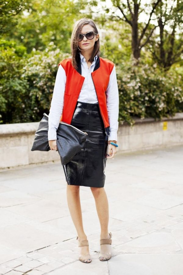 leather pencil skirt, black leather skirt, baseball jacket, varsity jacket, oversized clutch, grey pumps, ankle strap heels, white oxford,