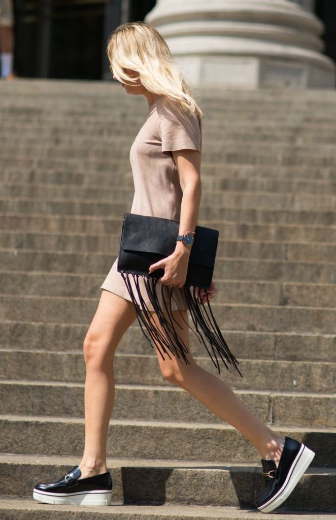 4f2ca55a81c7840681ce5d194d607f5b, fringe clutch, tshirt dress, creepers, platform loafers, fall, transitional