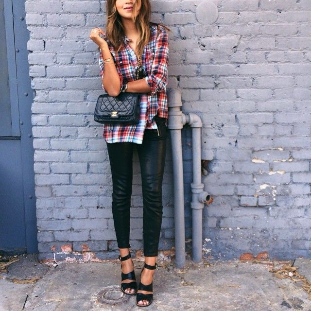 plaid shirt, flannel shirt, black leather skinnies, leather pants, ankle strap heels, fall, chanel quilted black pants