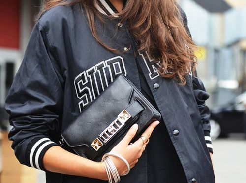 varsity jacket, baseball jacket, fall, clutch, bangles