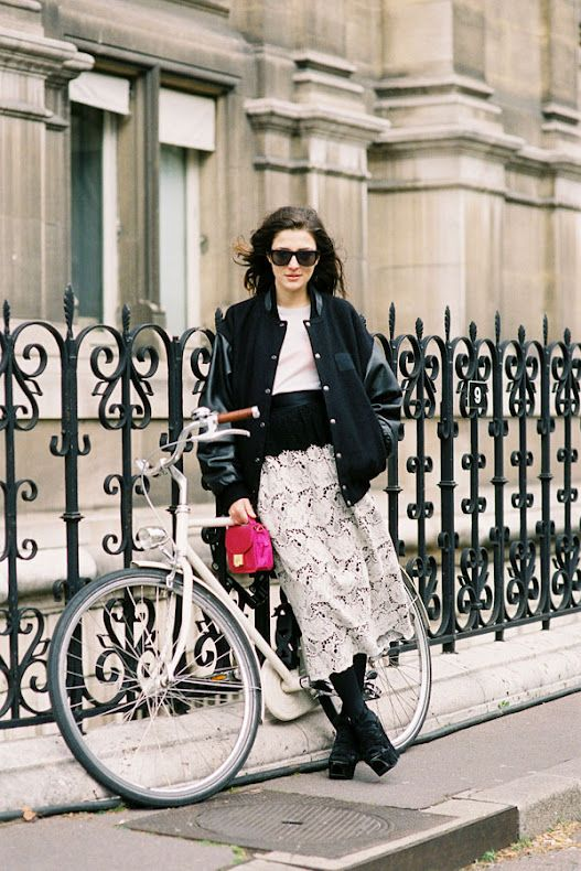 varsity jacket, baseball jacket, fall, lace midi skirt, black and white, mini bag, pink purse, cream and black, lace up platform boots, black booties