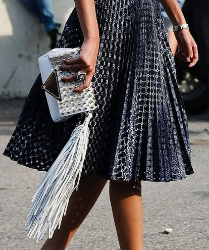 pleated skirt, black and white, fringe clutch, white clutch