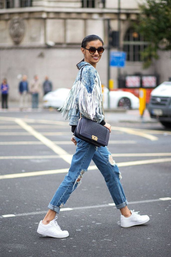 western fringe, denim jacket, model, denim on denim