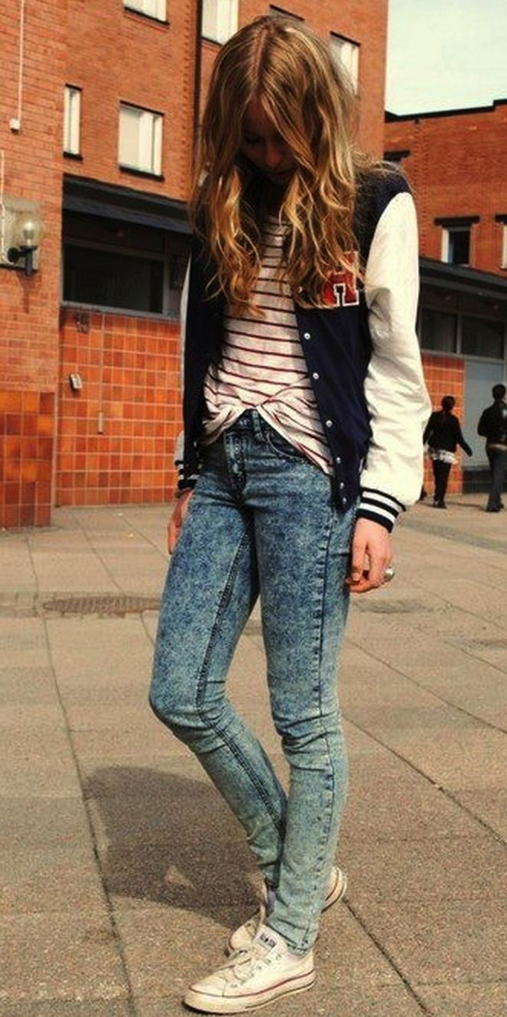 varsity jacket, baseball jacket, fall, striped shirt, acid wash denim, jeans, 80s, sneakers