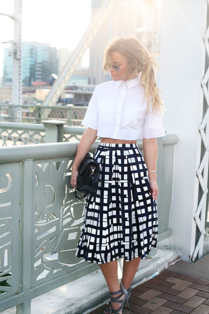 black and white, checkered midi skirt, collared white oxford shirt, crop top, sandals, going out, ngiht out