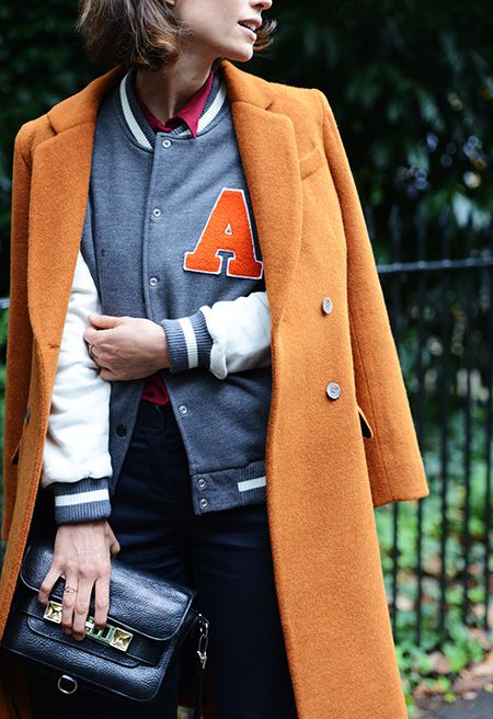 varsity jacket, baseball jacket, fall, bright coat, orange
