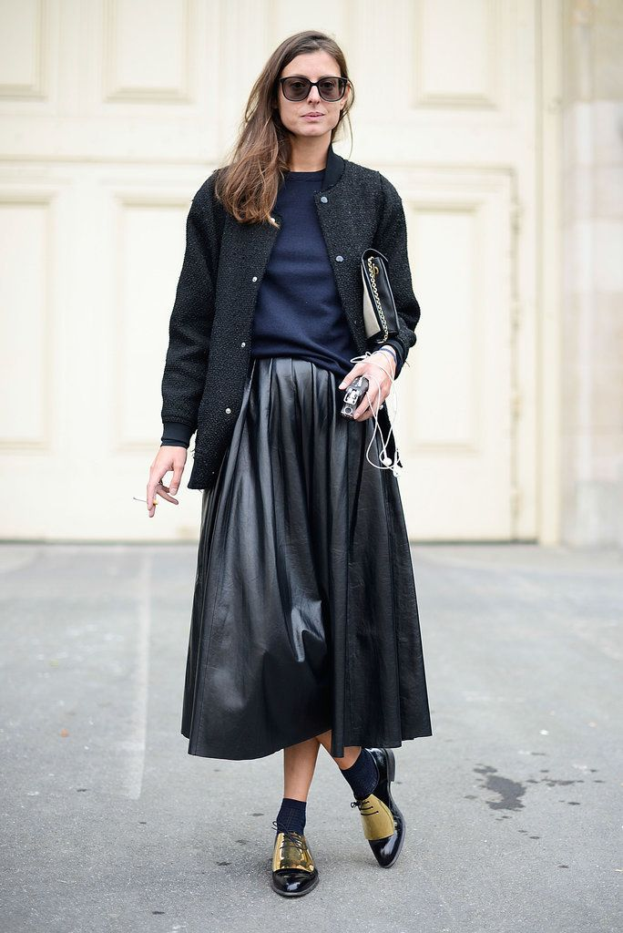 varsity jacket, baseball jacket, fall, leather skirt, midi skirt, clutch
