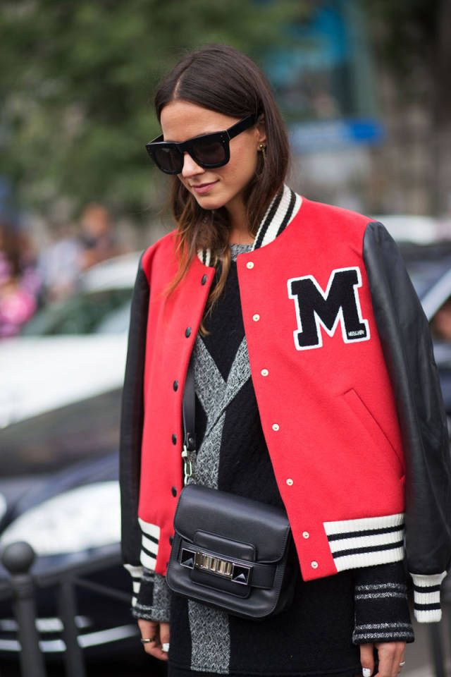 varsity jacket, baseball jacket, fall, sweater, sunglasses