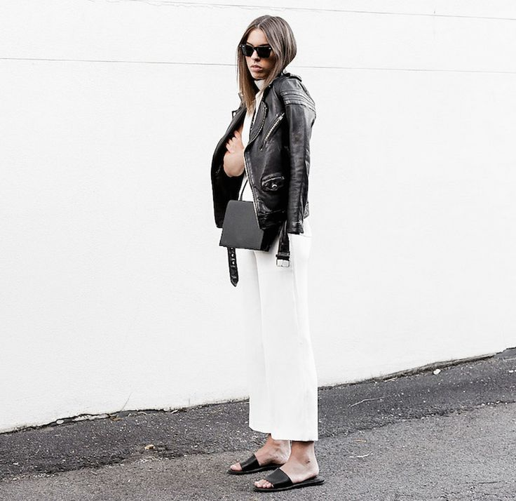 culottes-white-black-and-white-slides-black-leather-moto-jacket-via-modernlegacydotblogspotdotcomdotau