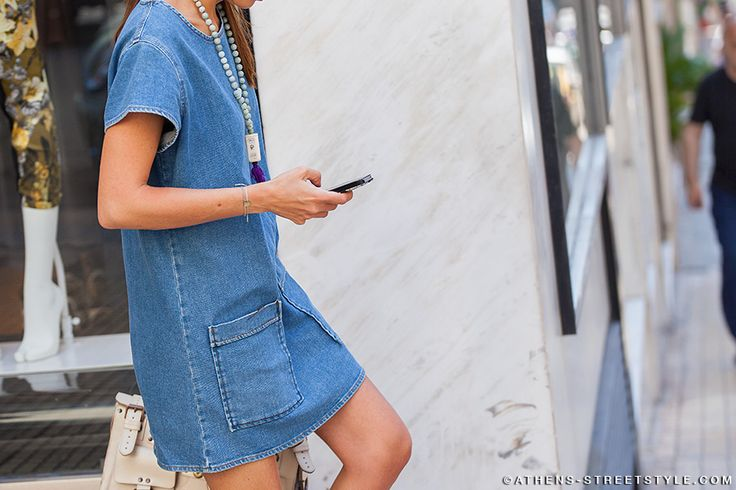 denim-dresses-statement-necklace-pendant-necklace-summer-via-athens-streetstyle.com