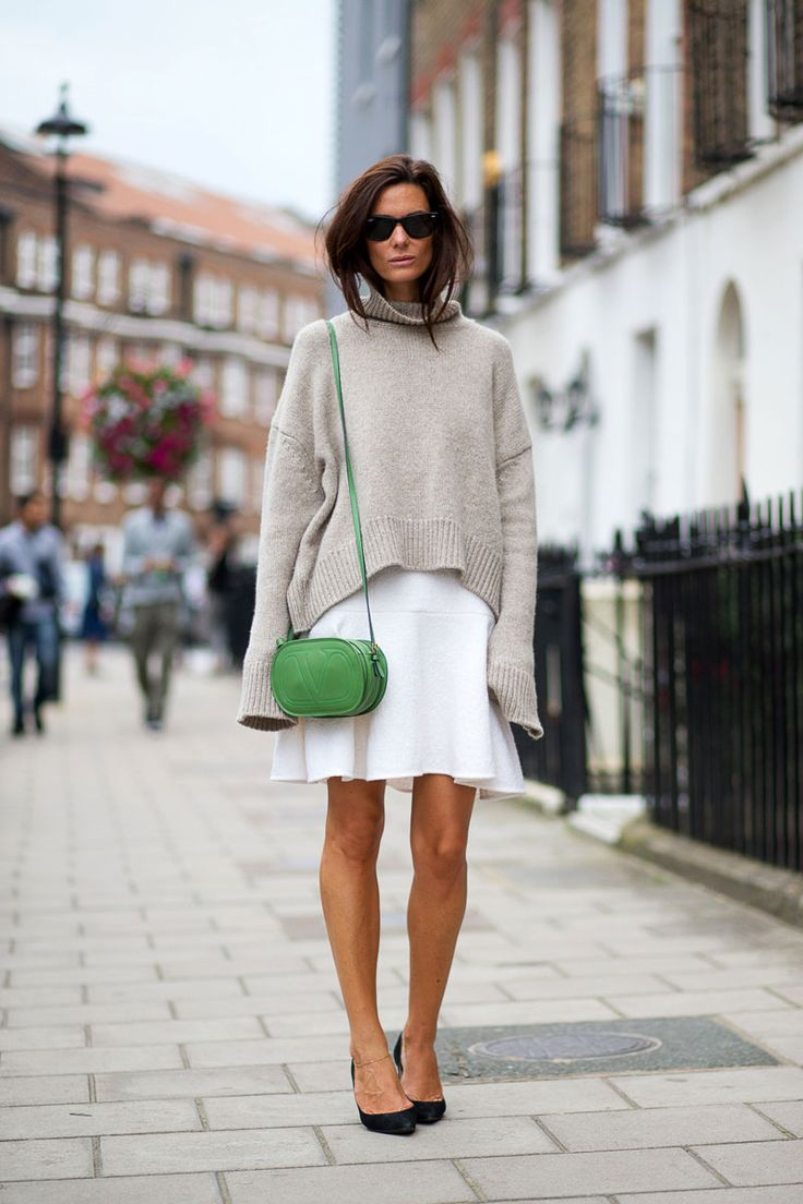 white skirts in winter, white skirt, oatmeal turtleneck sweater, sweaters and skirts, black pumps, street style, fall winter outfit, work outfit