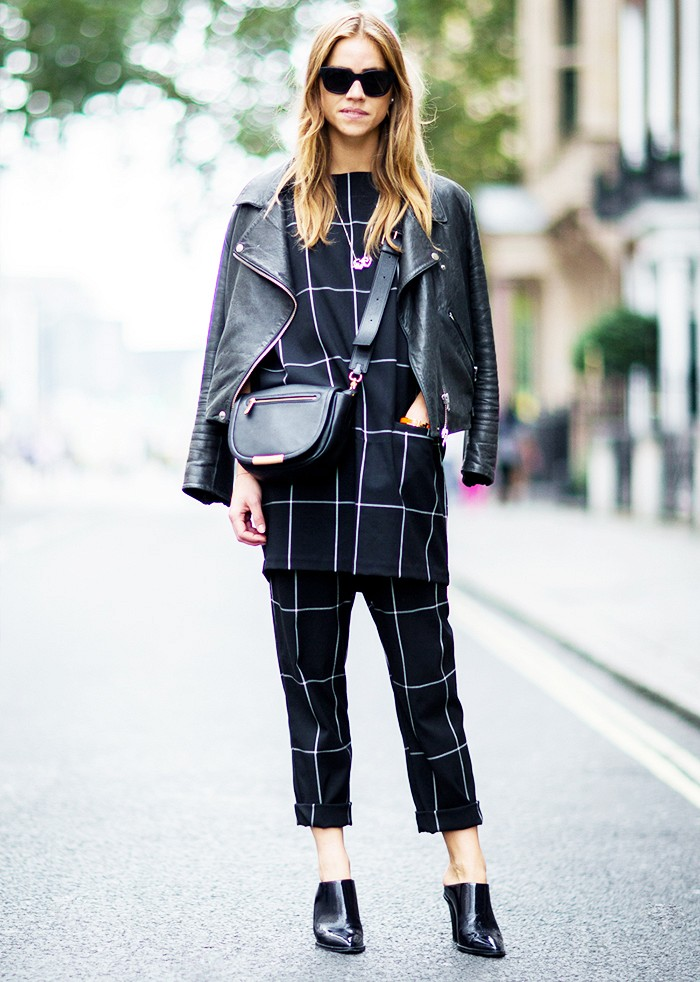 windowpane prints, prints, pinted pants, tunic, cuffed pants, pants set, mules, leather moto jacket, black leather jacket, crossbody bag, sunglasses, matching set, graphic, black and white