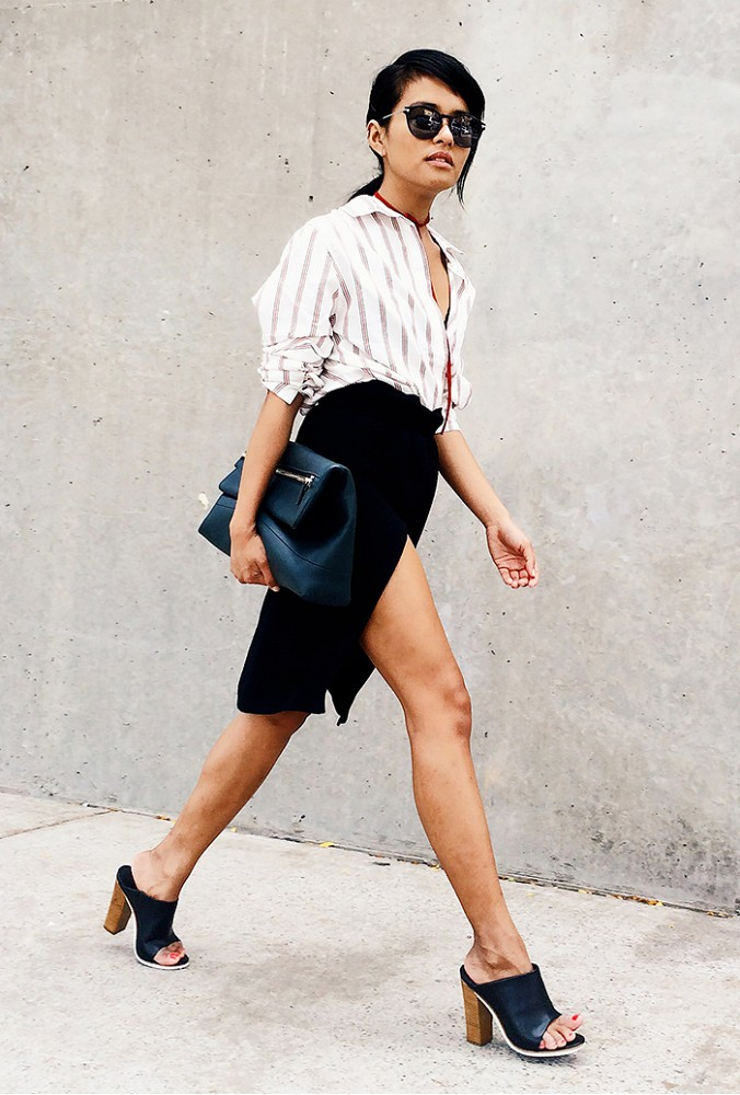 via who what wear, wrap skirt, black skirt, oversized clutch, rustic stripes, striped oxford, fall, mules, sunglasses, choker