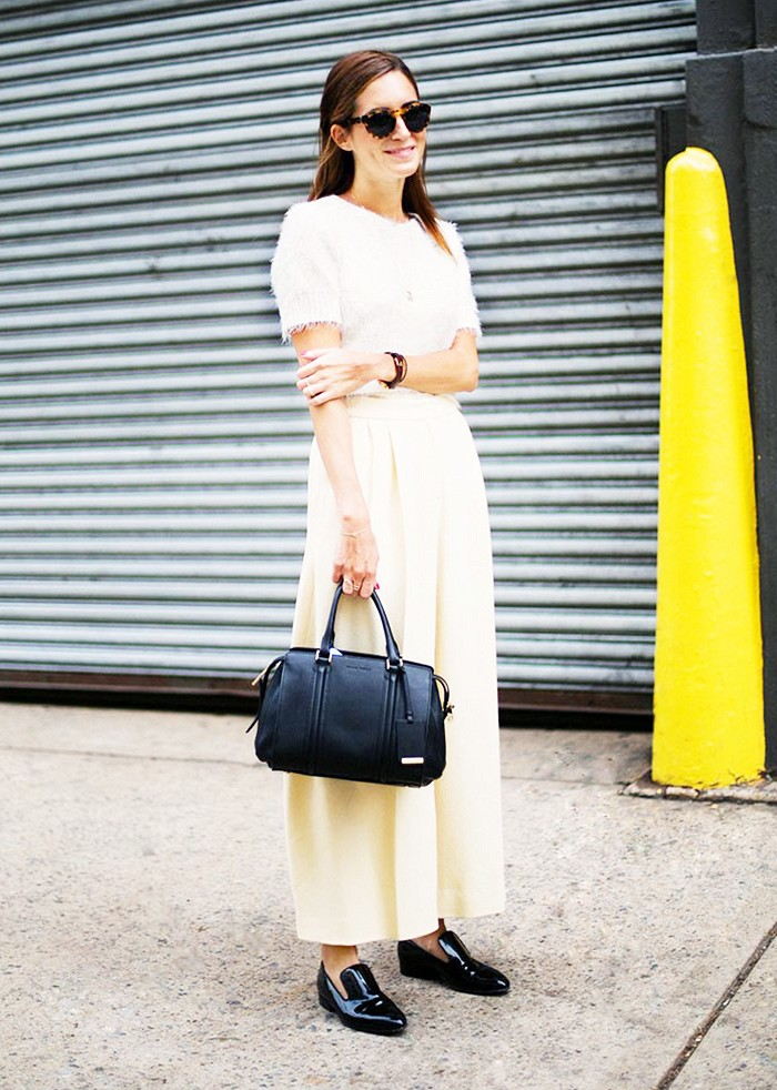 white, wide leg pants, black oxfords, black and white, fall whites