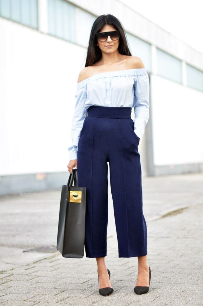 wide leg pants, off-the-shoulder-culottes-work-summer-spring-fall-navy-via-fashionlandscape.blogandthecity.net-via-fashionlandscape