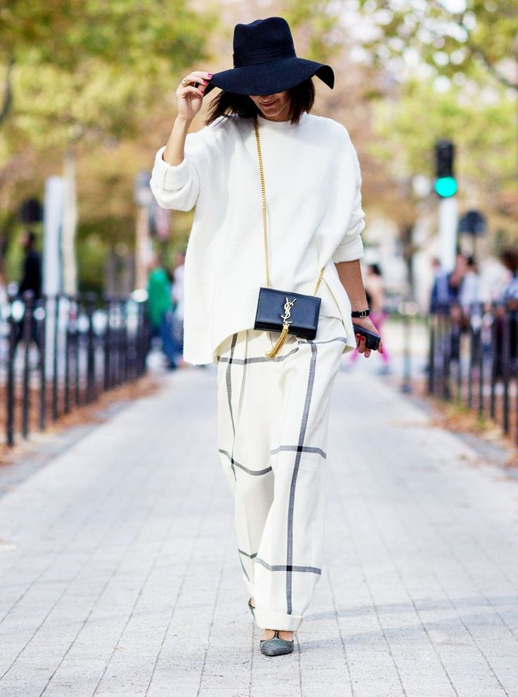 windowpane prints, oversized sweater, menswear, floppy hat, tomboy, ysl purse, mini bag, crossbody purse, printed pants, black and white, t-strap heels, baggy, oversized