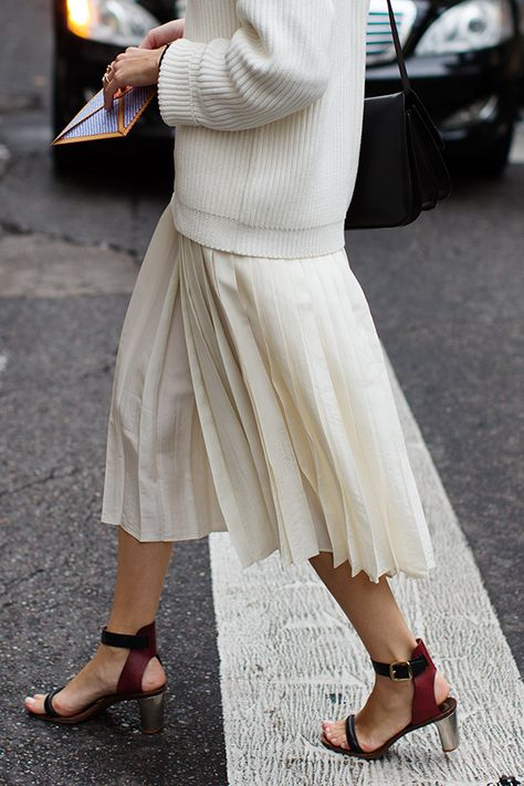 fall whites, pleated midi skirt, sweaters and skirts, all white, monochromatic