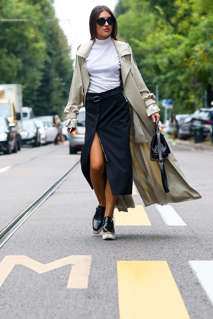 wrap skirt, slitted skirt, slit, midi skirt, long midi skirt, black and white, trench coat, creepers, MFW-Street-Style-Day-2-10