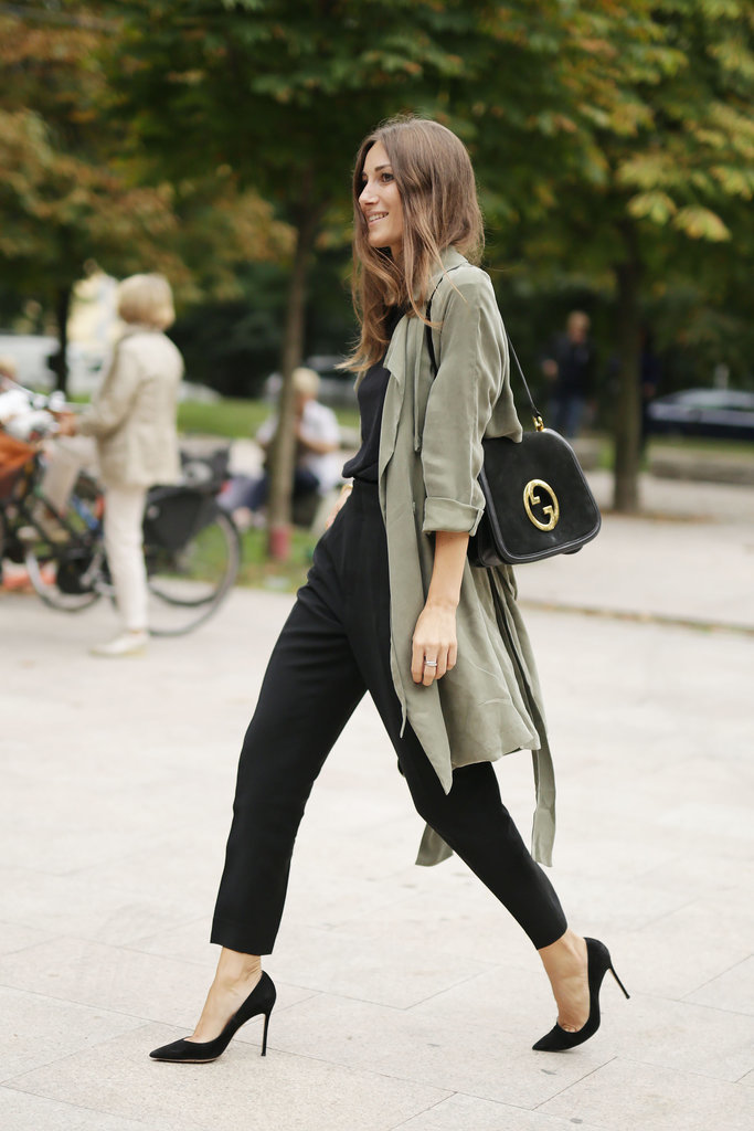 cropped black pants, summer spring work outfits, army green duster coat, black pumps