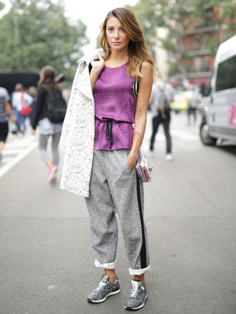 sweatpants, sporty, athetic, sneakers, MFW-Street-Style-Day-2-3