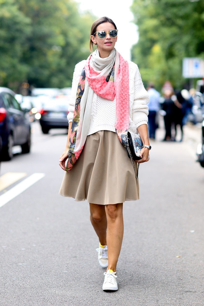 MFW-Street-Style-Day-2-9, knee skirts, sweaters adn skirts, scarves, mirrored sunglasses, clutch, sneakers, white sneakers, fisherman sweater, shiny skirt, sneakers and skirts, white sneakers, treetorn sneakers, tennis sneakers