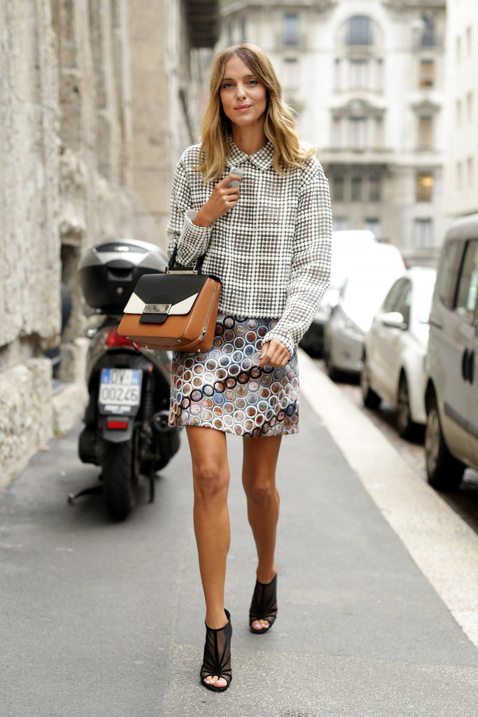 mixed prints, perforated circle print skirt, mules, collared printed blouse