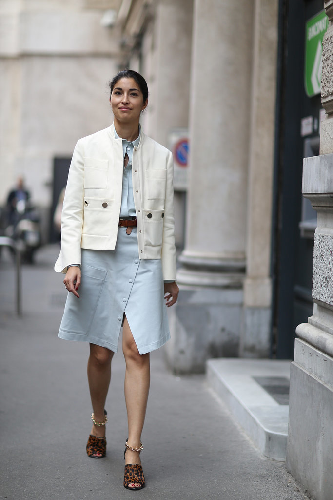 caroline issa, spring, wrap dress, whtie jacket, spring, fall, MFW-Street-Style-Day-5-10