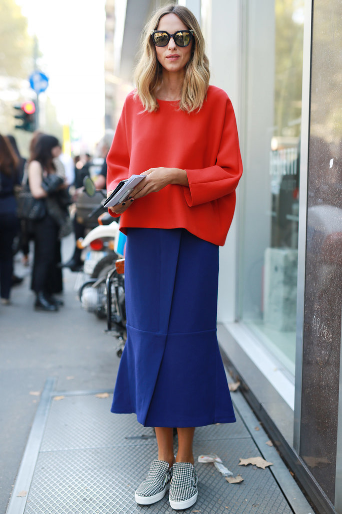 MFW-Street-Style-Day-5-1, midi skirt, colorblock, sweatshirt, sneakers and skirts, brights, red, cobalt, mirrored sunglasses, slip-on sneakers, printed sneakers