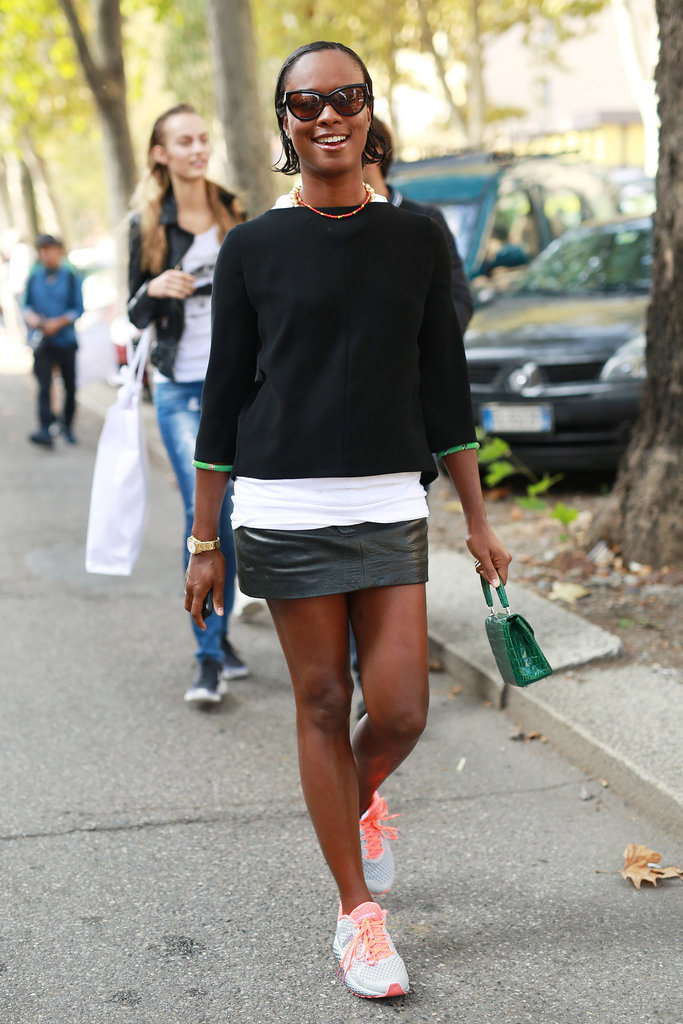 sneakers and skirts, mini skirt, black leather mini skirt, black sweater, fall, MFW-Street-Style-Day-5-3