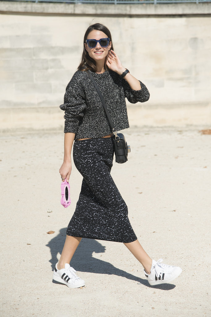 PFW-Street-Style-Day-5-2, sweater sets, skirt sets, marled sweater, grey, mini bags, sunglasses, crossbody purse, crop top, cropped sweater, midi skirt, midi pencil skirt, adidas sneakers, black and white, sneakers and skirts