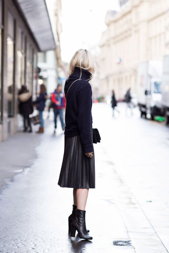 pleated midi skirt, ankle booties, turtleneck sweater