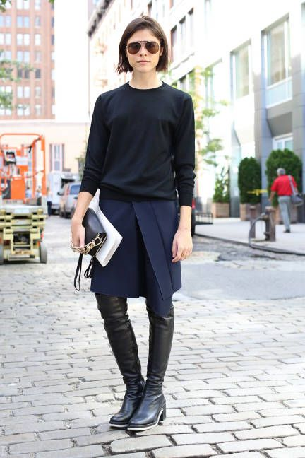 emily weiss, into the gloss, black and navy, over the knee boots, wrap skirt, black and navy, fall