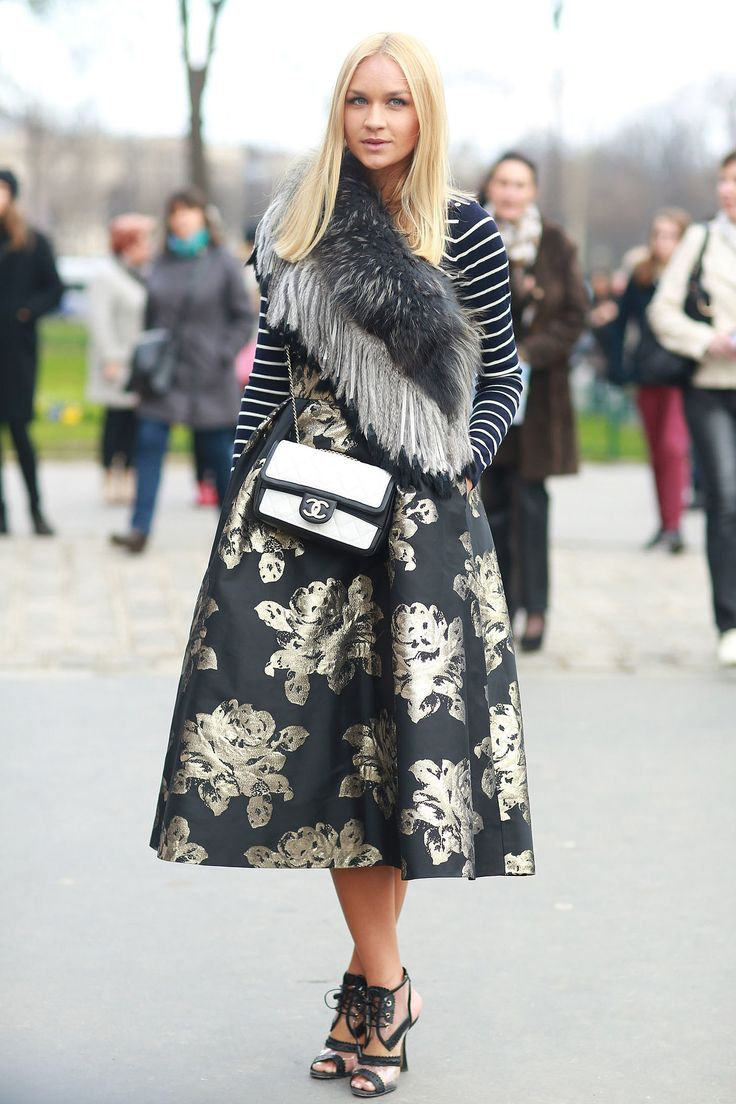 brocade black and gold midi skirt, stripes, striped tee, quilted chanel bag, fur, fur scarf, artsy prints, floral midi skirt, printed midi skirt, black and gold, fall, clear and black shoes, clear, ankle cutout heels