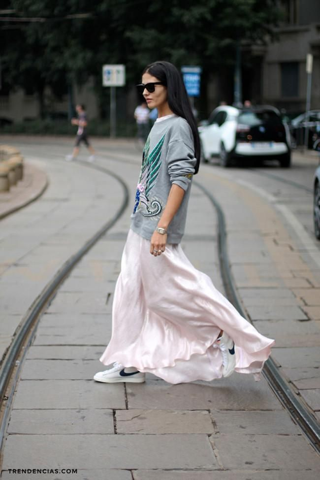 sneakers, nike, maxi dress, long dress, sweatshirt, sweaters over dresses, pink