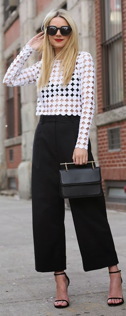 atlantic pacific, black and white, crop top, cutout eyelet top, top handle bag, mini bag, cropped pants, tailored pants