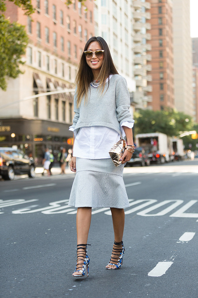 crop top, oxford shirt, peplum skirt, flounce skirt, grey, striped, aimee song, fall work outfit