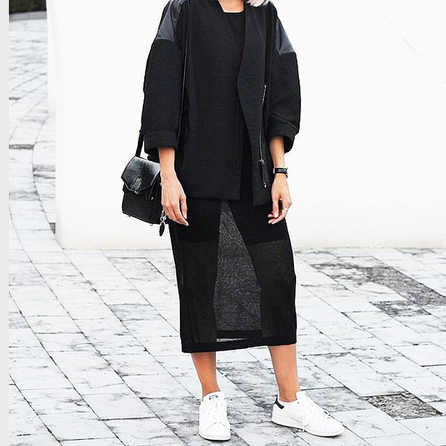 White-Sneakers-, adidas sneakers, midi skirts, blazer, jacket, black