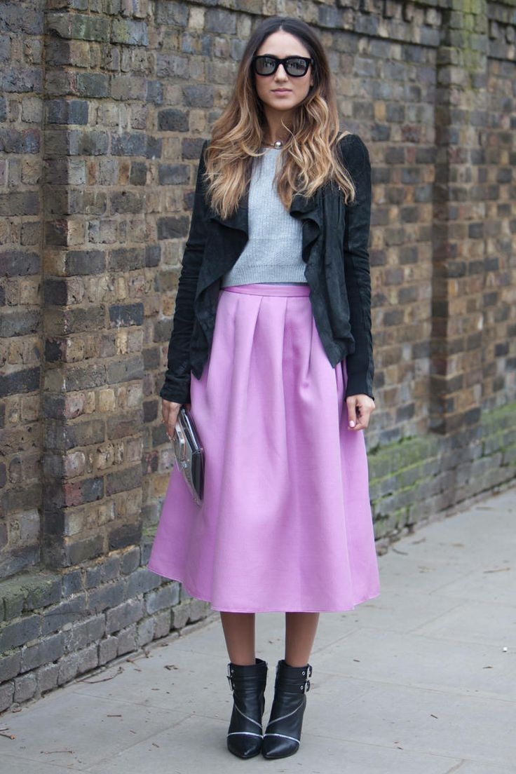 pastel purple midi skirt, grey cropped sweater, fall crop tops, ruffled open suede sweater, mirrored sunglasses, mirrored clutch, buckled ankle booties, black ankle boots, edgy booties