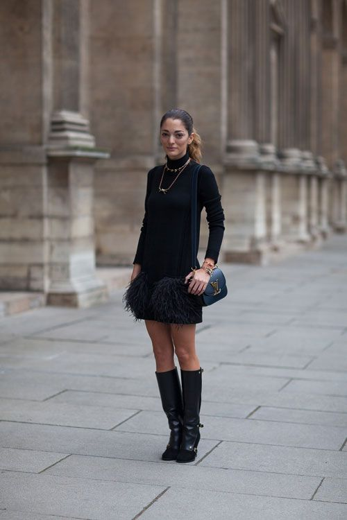 black-feather-mini-skirt-all-black-knee-boots-military-boots-black-turtleneck-arm-candy-mini-bag-ysl-bag-editor-style-french-style-via-harpersbazaar.com