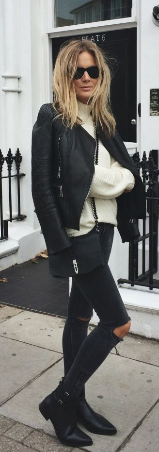 chelsea boots, winter outfit, ankle boots, booties, black distressed skinny jeans, white sweater, moto jacket, black and white