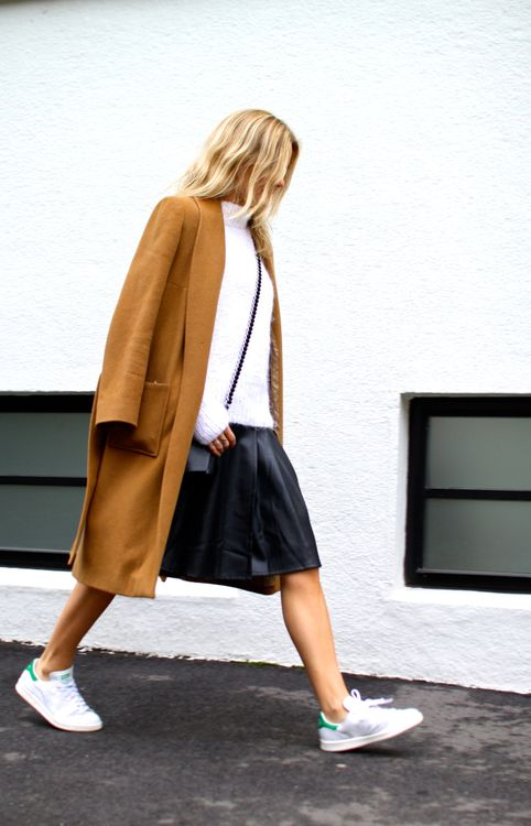 black-leather-knee-skirt-white-turtleneck-sweater-addidas-stan-smith-sneakers-camel-coat-fall-neutrals-via-lacooletchic.tumblr.com