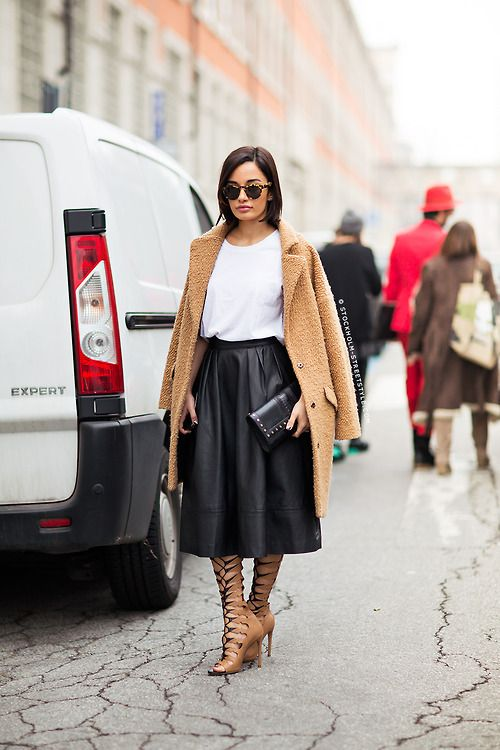black-leather-midi-skirt-camel-fuzzy-coat-lace-up-strappy-heels-clutch-black-and-white-white-tee-sunglasses-leather-skirt-via-stockholmstreetstyle