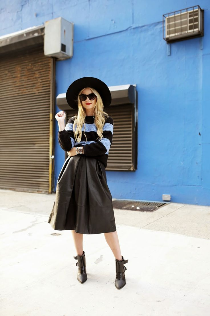 black-leather-midi-skirt-edgy-pointy-ankle-booties-striped-sweater-stripes-wide-brim-hat-fall-via-atlantic-pacific